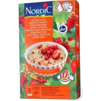 Каша овсяная Нордик красная смородина и клубника моментального приготовления 6 пакетиков 210г Финляндия