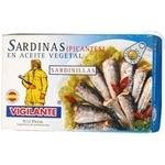 Сардины Вижиланте маленькие в масле со специями 120г железная банка Испания