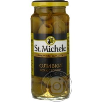 Оливки St. Michele без кісточки (сорт Гордал), с/б 358 мл