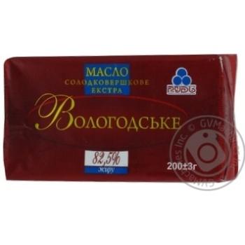 Масло Рудь Вологодское сладкосливочное экстра 82.5% 200г