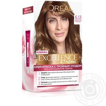 Крем-краска для волос L'Oreal Excellence Creme 6.13 темно-русый бежевый - купить, цены на Novus - фото 1