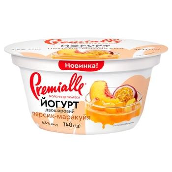 Йогурт Premialle двошаровий персик-маракуйя 6,5% 140г