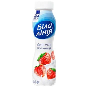 Йогурт Белая л24иния клубника 1,5% 250г - купить, цены на Ашан - фото 1