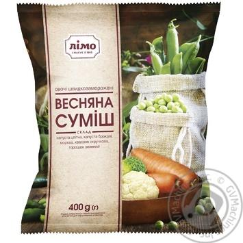 Овощная смесь Лимо Весенняя из 5-ти компонентов быстрозамороженная 400г - купить, цены на Фуршет - фото 1
