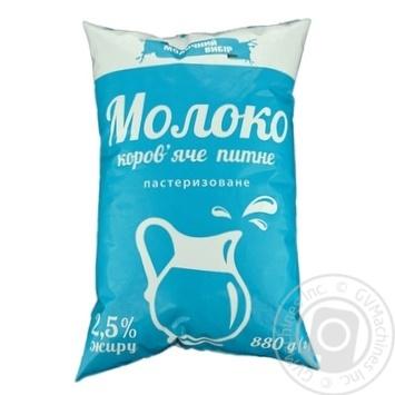 Молоко Молочний вибір пастеризоване 2,5% 880г - купити, ціни на Фуршет - фото 1