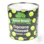 Горошок зелений Natur Bravo консервований 425мл - купити, ціни на Фуршет - фото 1