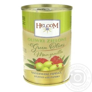 Оливки зелені Helcom фаршировані паприка 300мл - купити, ціни на Фуршет - фото 1