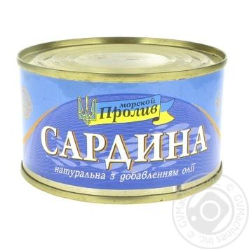 Сардини Морской Пролив натуральные с добавлением масла 240г - купить, цены на Фуршет - фото 1