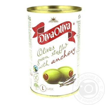 Diva Oliva Green Olives stuffed with anchovy 300g - buy, prices for MegaMarket - image 1