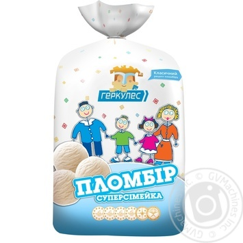 Ice-cream Hercules Super family with vanilla glace plombieres 1000g sachet