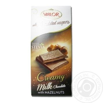 Шоколад молочний з начинкою з ядер горіха фундука без цукру Valor 100г