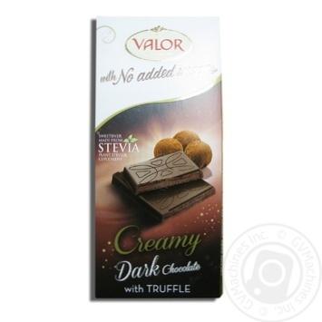 Шоколад чорний з трюфельною начинкою без цукру Valor 100г