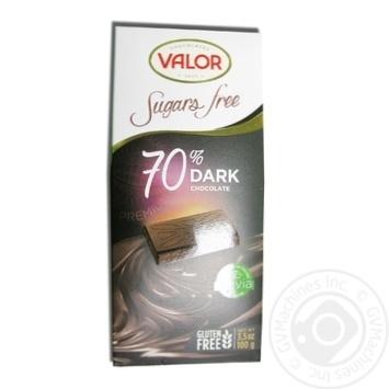 Шоколад чорний без цукру Valor 100г