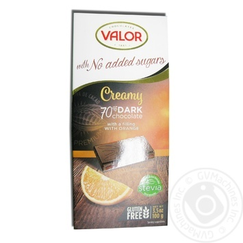 Шоколад чорний з апельсиновою начинкою без цукру Valor 100г