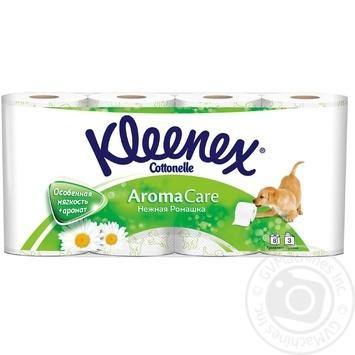Туалетная бумага Kleenex Aroma Care ароматизированная Нежная Ромашка 8шт - купить, цены на Ашан - фото 1