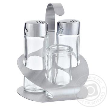 Менажниця (сіль+перець+зубочистки) скло та сталь - купити, ціни на МегаМаркет - фото 1