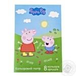 Набор цветной бумаги Свинка Пеппа 8 цветов