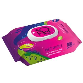 Салфетки влажные Сохо детские с клапаном 100шт - купить, цены на МегаМаркет - фото 1