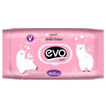 Бумага туалетная Evo Home детский ромашка влажная 48шт