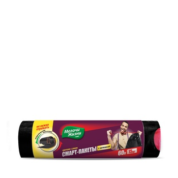 Пакеты для мусора Мелочи Жизни с затяжкой 60л 15шт - купить, цены на ЕКО Маркет - фото 1
