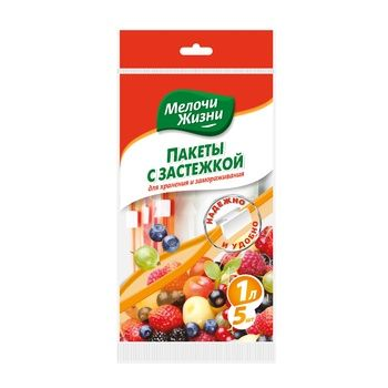 Dribnytsi zhyttya Packages for storage and freezing with a fastener of 1l 5pcs - buy, prices for Tavria V - image 1