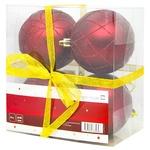 Tarrington House Set of Balls for Christmas Tree Burgundy 4pcs 80mm