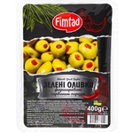 Оливки Fimtad зеленые фаршированные красным перцем 400г