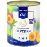 Персики METRO Chef половинками в сиропе 850мл