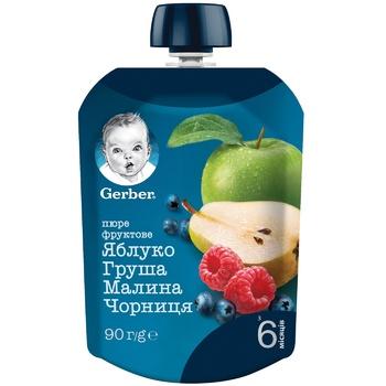 Пюре Gerber Яблуко груша малина чорниця для дітей з 6 місяців 90г - купити, ціни на Ашан - фото 4