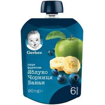 Gerber for children banana-bilberry puree 90g - buy, prices for Metro - photo 1
