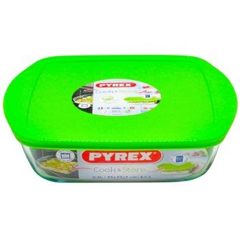 Форма Pyrex с крышкой 25х22х7см  2,2л - купить, цены на Ашан - фото 1