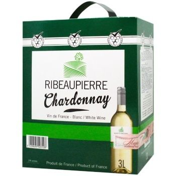 Вино Ribeaupierre Шардоне белое сухое тетрапакет 13% 3л