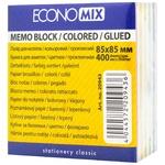 Папір для нотаток EconoMix кольоровий проклеєний 85X85мм