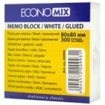 Бумага для заметок EconoMix белая клееная 80X80мм