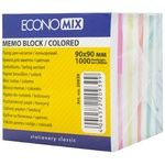Папір для нотаток EconoMix кольоровий непроклеєний 90х90мм