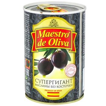 Маслины Maestro de Oliva Супергигант без косточки с/б 425г - купить, цены на Novus - фото 2
