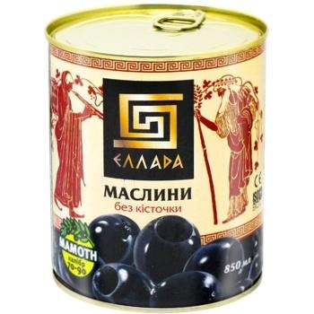 Оливки Ellada чорні без кісточки 850мл - купити, ціни на Ашан - фото 1