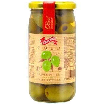 Оливки DivaOliva зеленые без косточки стеклянная банка 370мл - купить, цены на ЕКО Маркет - фото 1