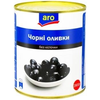 Оливки чорні Aro без кісточки 3100мл - купити, ціни на Метро - фото 1