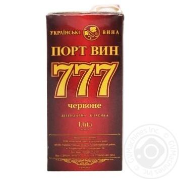 Вино Портвин 777 красное крепленое 17,5% 1л