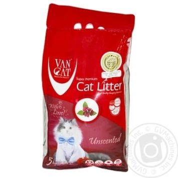 Наповнювач гігієнічний Van Cat Classic грудкуючий для котячого туалету 5кг 5.9л - купити, ціни на Ашан - фото 1