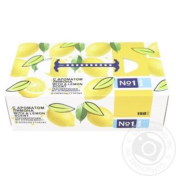 Платочки бумажные Bella №1 универсальные двухслойные с ароматом лимона 150шт - купить, цены на Novus - фото 1