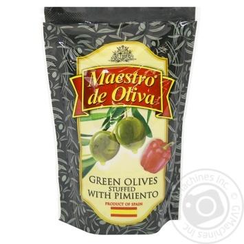 Оливки зеленые Maestro Dе Oliva с перцем 170мл - купить, цены на Novus - фото 1