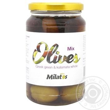 Оливки ассорті Milatos з кісточкою 350г - купити, ціни на МегаМаркет - фото 1