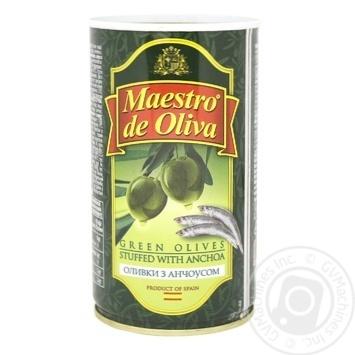 Оливки Маэстро де Олива зеленые с анчоусами 370мл - купить, цены на Novus - фото 1
