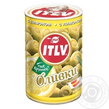 Оливки ITLV зелені з лимоном 314мл - купити, ціни на УльтраМаркет - фото 1