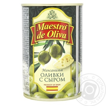 Оливки зеленые Maestro de Oliva с сыром 300мл - купить, цены на Novus - фото 1