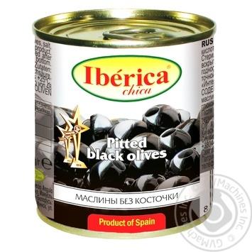 Маслини чорні Iberica Chika без кісточки 200мл - купити, ціни на МегаМаркет - фото 1