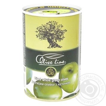 Оливки зеленые Olive Line большие с косточкой 420г - купить, цены на Novus - фото 1
