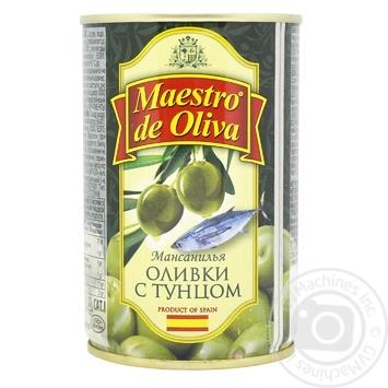 Оливки зелені Maestro de Oliva з тунцем 300мл - купити, ціни на МегаМаркет - фото 1